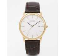 Exklusiv bei ASOS Armbanduhr mit Lederarmband und vergoldetem Zifferblatt Braun