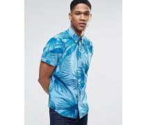 Schmales Hemd mit kurzen Ärmeln und tropischem Print Marineblau