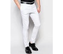 Superenge elegante Hose mit farblich abgesetztem Rasterkaro und Stretchanteil Weiß