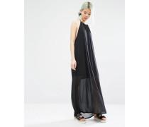 Neckholder-Kleid mit Seitenschlitz Schwarz