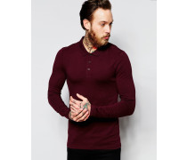 Langärmliges Poloshirt in Burgunderrot, Extreme Muscle Fit Rot