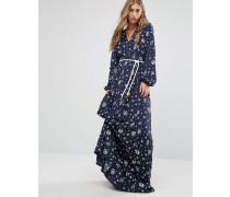 Gigi Hadid Boho-Maxikleid mit Taillenschnürung und Kompass-Print Marineblau