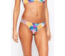 Bikinihose mit Zierausschnitten in Wasserfarben Mehrfarbig