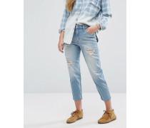 Girlfriend-Jeans mit hoher Taille Blau