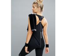 Gymnastik-Trägershirt mit geschnürter Rückenpartie Schwarz