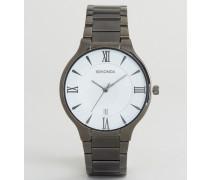 Uhr mit schwarzem Armband und weißem Zifferblatt, exklusiv bei ASOS Schwarz