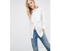 Voden Weißes Boyfriend-Hemd mit Utility-Taschen Weiß
