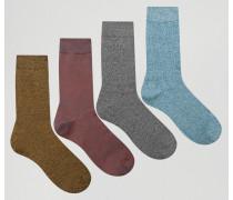 Melierte Socken im 4er-Pack Mehrfarbig