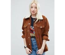Hellbraune Cord-Jacke im Girlfriend-Stil mit abnehmbarem Kunstfellkragen Braun