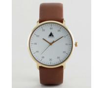 Minimalistische Uhr Braun