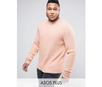 PLUS Oversize-Pullover mit Struktur und lockeren Ärmeln Rosa