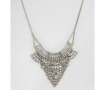 Halskette im Latzdesign mit Strass Silber
