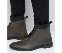 Stiefel im Budapester Stil aus grauem Leder Grau