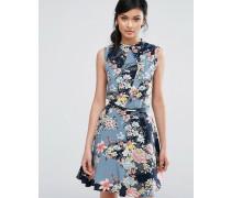 Hochgeschlossenes Skaterkleid mit Blumen-Print und Gürtel Mehrfarbig
