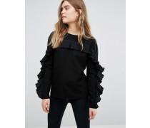 Pullover mit Rüschen Schwarz