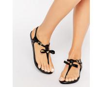 Flache Sandalen mit T-Steg und Zierschleife Schwarz