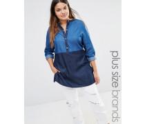 Chambray-Hemd mit Farbblock Blau