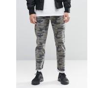 Stretch-Jeans in Camouflage-Design Grün