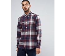 Kariertes Flanellhemd mit zwei Brusttaschen Rot