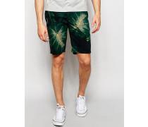 Chino-Shorts mit Blumenprint Grün
