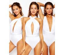 Multiway-Badeanzug Weiß