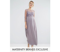 Little Mistress Maternity Maxikleid mit Lage und Blumenapplikation Grau