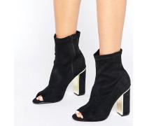 Goldene Peeptoe-Ankle-Boots mit Absatz Schwarz