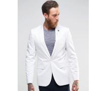 Enger Baumwoll-Blazer in Satin-Optik in Weiß Weiß