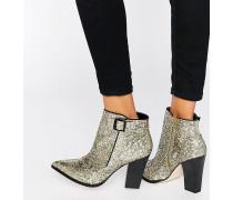 Harlow Schimmernde Ankle Boots mit Absatz Gold