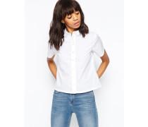 Kurzärmliges, kastenförmiges Hemd in Weiß Weiß