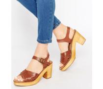 Sandalen mit überkreuzten Riemchen Bronze