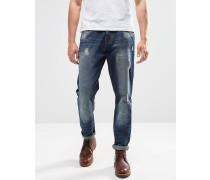 Sandgestrahlte, schmale Jeans mit Abnutzungen Blau
