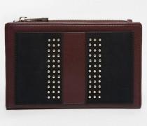 Nietenbesetzte Brieftasche Schwarz