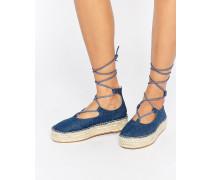 JAZZ Denim-Espadrilles mit Knöchelschnürung Blau