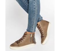 Hohe, braungraue Sneaker aus Nubuckleder Grau
