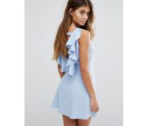Kleid in A-Linie mit freiem Rücken und Rüschenverzierung Blau