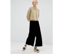 Hose aus Knittersamt mit weitem Bein Schwarz