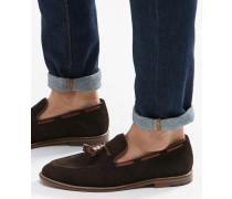 Alfr Schuhe mit Quastenverzierung Braun