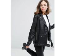 Faux Leather Biker Jacket Schwarz
