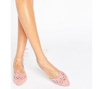 Flache spitze Schuhe mit Zierausschnitt und Schnürung in Staubrosa Rosa