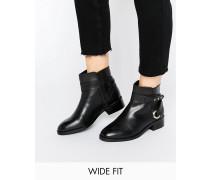 AZURE Weit geschnittene Stiefelette aus Leder Schwarz