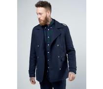 Solid Kurzer Mantel Marineblau