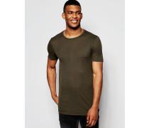 Langes Muskel-T-Shirt aus feinem Rippenmuster, in Khaki Grün