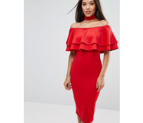 Bardot-Midikleid mit zwei Rüschenlagen Rot