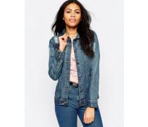Jeansjacke mit gefransten Enden Blau