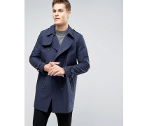 Shower Resistant Double Breasted Trench In Navy Marineblau