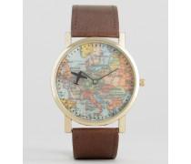 Braune Armbanduhr mit Vintage-Landkarten-Print Braun