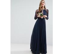 WEDDING Plissiertes Maxikleid mit hübschem Spitzenbesatz Marineblau