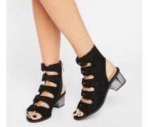 Truffle Mittelhohe Sandalen mit vielen Schnallen Schwarz