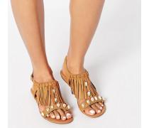 Sandalen mit Fransenbesatz und Muschelverzierung Bronze